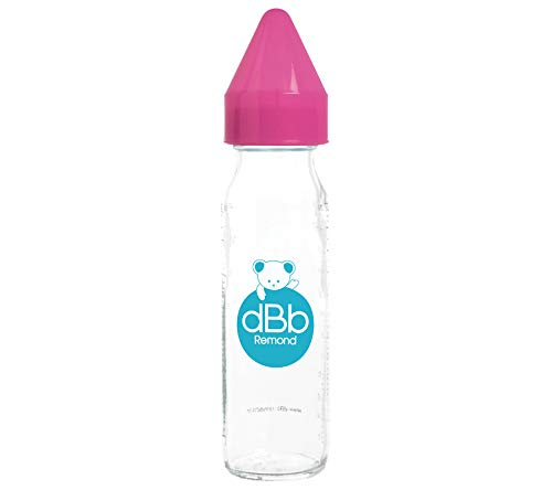 dBb Remond Régul'Air Biberon avec Tétine NN en Silicone sous Boîte Rose Translucide 240 ml