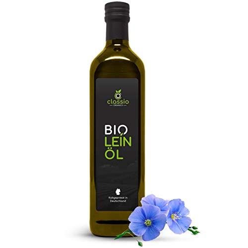 CLASSIO BIO Leinöl | 100% kaltgepresst | Hoher Anteil an gesunden Omega-3-Fettsäuren | Leinöl aus nachhaltigem BIO Anbau | 1 x 750 ml Glasflasche mit praktischem Dosierer