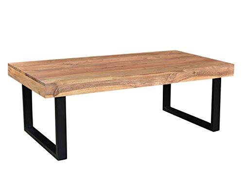 Woodkings® Couchtisch Ettrick 116x57cm, Holz Metall schwarz, Akazie hell, Echtholz, Design, Massivholz, Sofatisch, Wohnmöbel, exklusiv, Lounge Coffee Table