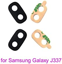 PHONSUN Replacement Camera Lens Glass with Adhesive for Samsung Galaxy J3 2018 J337 J337A J337P J337V J337T Black (Pack of 2)
