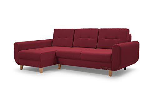 MOEBLO Ecksofa mit Schlaffunktion Eckcouch mit 2 X Bettkasten Sofa Couch L-Form Polsterecke - BONN (Ecskofa Links, Rot)
