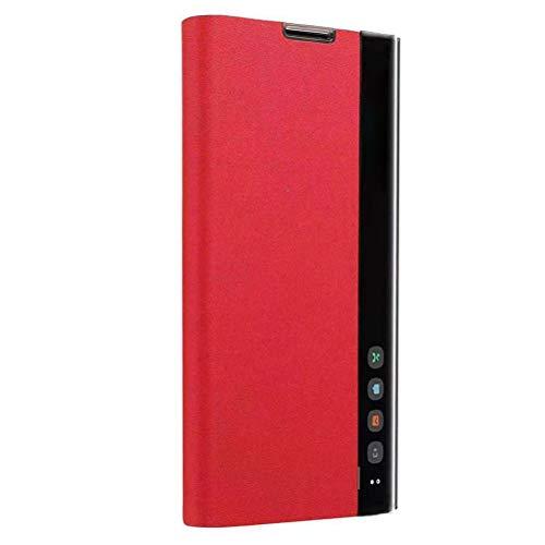 Lasvos Spiegel Clear View Smart siliconen beschermhoes voor Samsung Galaxy A70, PU-flip-lederen telefoonhoes met harde standfunctie voor Samsung Galaxy A70