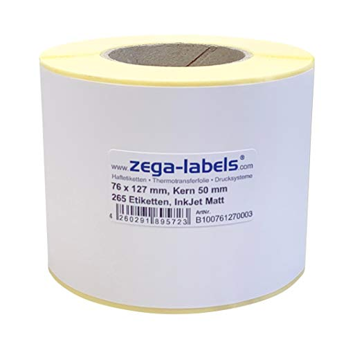 Inkjet Etiketten auf Rolle - 76 x 127 mm - 265 Stück je Rolle - Kern: 50 mm - Papier weiss matt - aussen gewickelt - permanent haftend - Druckverfahren: Ink Jet (Rollen Tintenstrahl Drucker)