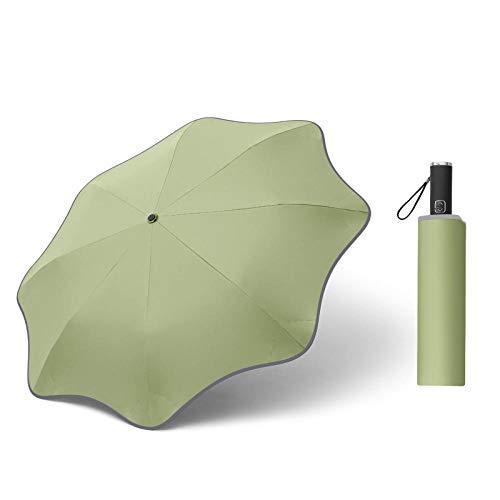 Creative Lace Paraguas automático Tri-plegable Tira reflectante redondeada Protector solar Protección UV Sol y lluvia Paraguas de doble uso-Matcha Green (tira reflectante de vinilo) _23 pulgadas * 8
