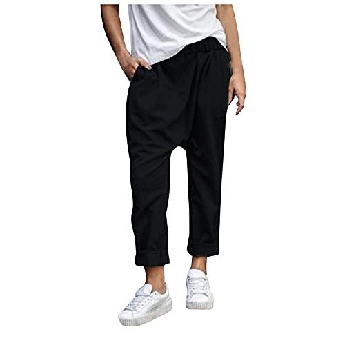 Liably Pantalones de mujer ligeros de un solo color, versátiles, para el tiempo libre, sueltos, pernera ancha, ligeros, de talle alto, elegantes, pantalones de jogging para adolescentes Negro XXXXXL