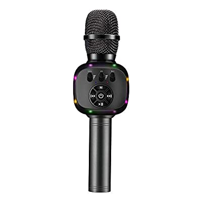 BONAOK Wireless Bluetooth Karaoke Microphone with Dual Sing, LED Lights, Portable Handheld Mic Speaker Machine for iPhone/Android/PC/Outdoor/Birthday/Home/Party (Q88 Space Gray)