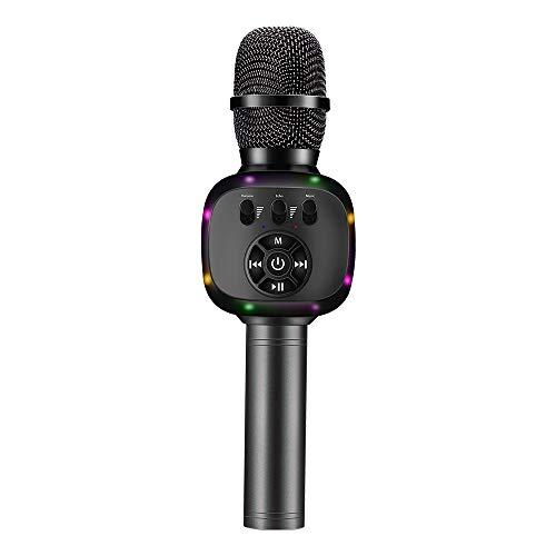 BONAOK Wireless Bluetooth Karaoke Microphone with Dual Sing, LED Lights, Portable Handheld Mic...