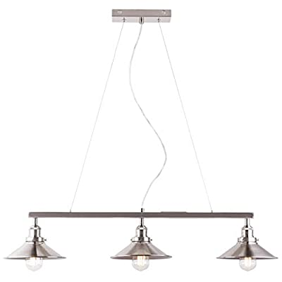 Andante Three-Light Hanging Island Pendant Linear Light Fixture, Brushed Nickel Finish Adjustable Height. UL Listed Linea di Liara LL-P347-BN