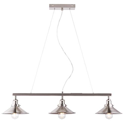 Andante 3 Light Kitchen Island Light Fixture, Brushed Nickel, Linea di Liara LL-P347-BN