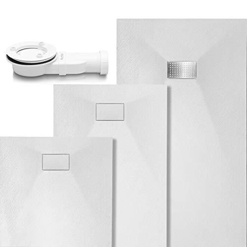 VILSTEIN Duschwanne Steinoptik | Duschtasse flach | Set mit Ablaufgarnitur und Edelstahl Abdeckung | 140x90 cm | Weiß