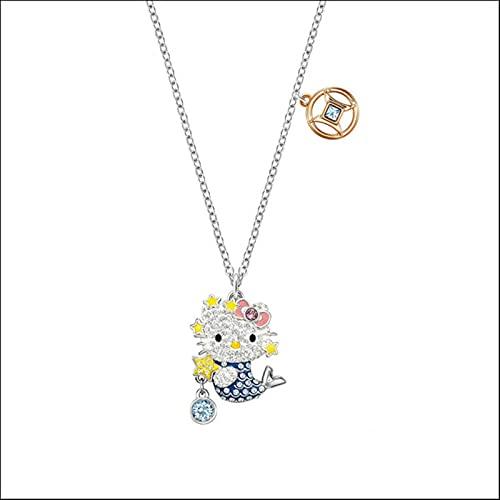 ZhenS Joyería de Moda Lindo Gato 12 constelación Hola Colgante Collar Cadena de clavícula Simple Regalo-Piscis