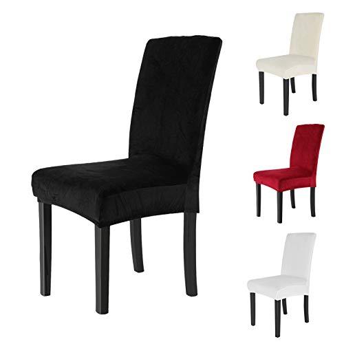 AllRight 6 x Stuhlhussen Stuhlbezug Stuhlüberzug Stretchhussen Hochzeit Mehrere Auswahl Schwarz