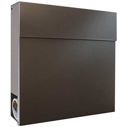 Moderner Briefkasten mit Zeitungsfach anthrazit-eisenglimmer DB 703 MOCAVI Briefkasten Box 530 Postkasten groß mit Zeitungsrolle, Wand-Briefkasten wasserdicht deutsche Markenqualität