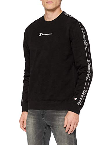 Champion Men's Seasonal Tape Sweatshirt Sudadera, Black (Kk001), S para Hombre