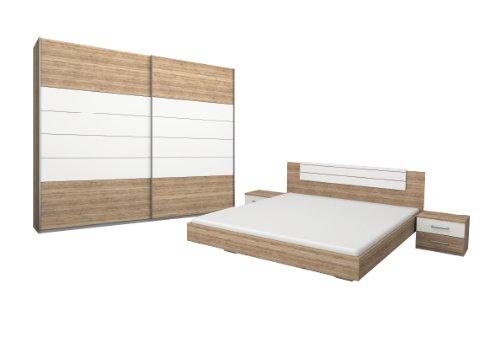 Rauch Möbel Barcelona Schlafzimmer, Eiche Sanremo hell / Weiß, bestehend aus Bett mit Liegefläche 180x200 cm inklusive 2 Nachttische und Schwebetürenschrank BxHxT 226x210x62 cm