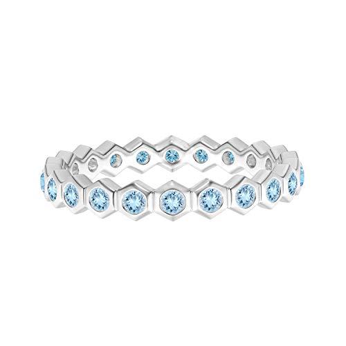 Shine Jewel Anillo de Banda de eternidad Completo de Oro de 9 k con Piedras Preciosas de Aguamarina Hexagonal de 0.03 CTS (Oro Blanco, 22)