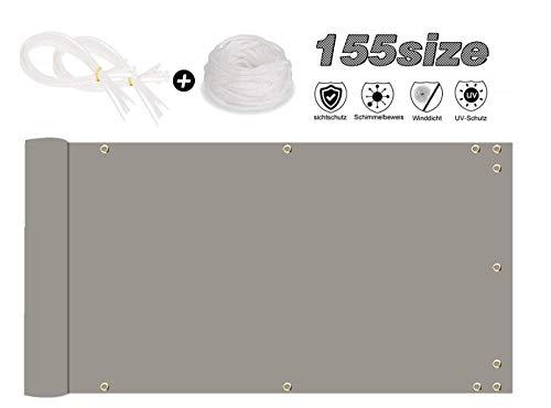 MODKOY Balkon Verkleidung 100x600cm Sichtschutzplane mit ösen Zaun Uv-Schutz Robuste Blend für Balkongeländer, Terrasse & Garten -Hellgrau