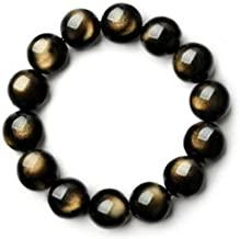 FOKLC Bracelet Natural Gold Obsidian Beaded Stretch Bracelets for Men,Bead Size 6-8-10-12MM Women Bracelets Lucky Accessories