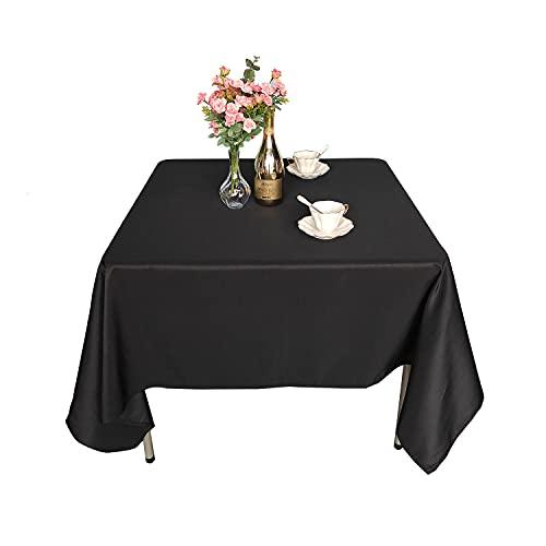 Trimming Shop Fyrkantig bordsduk bomull polyester bockbord linne för bröllopsdekorationer, banketter, företagsfester evenemang (137 cm x 137 cm, svart, 1 st)