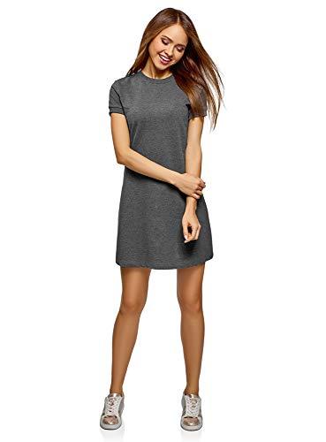 oodji Ultra Damen Lässiges Kleid mit Kurzen Ärmeln, Grau, XS