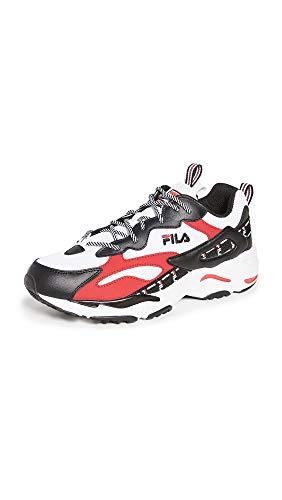 Fila Men's Ray Tracer Tarvos Sneakers, White/Black/Fila Red, 9 Medium US