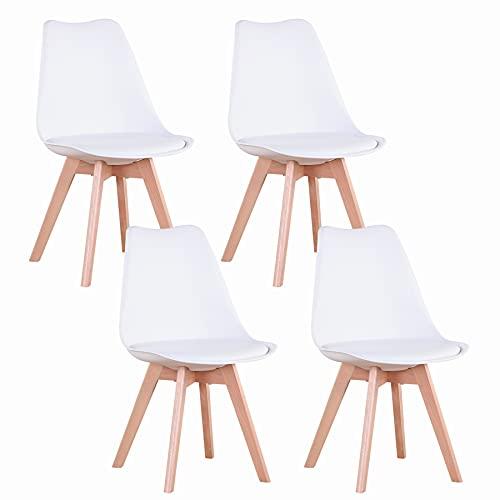 GrandCA Home Lot de 4 chaises, Chaise de Salle à Manger en PU avec Pieds en Bois de hêtre, Chaise de Style Nordique, adaptée au Salon, Salle à Manger, Salon (Blanc)