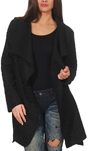 Malito Damen Wollmantel kurz | Boucle Wool | Trenchcoat mit Gürtel | weicher Dufflecoat | Parka - Jacke 9319 (schwarz)