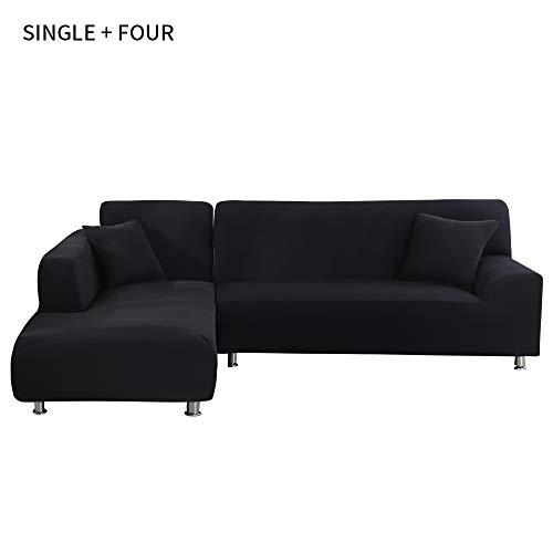 laamei' Copridivano con Penisola Elasticizzato Chaise Longue antimacchia Sofa Cover componibile in Poliestere a Forma di L