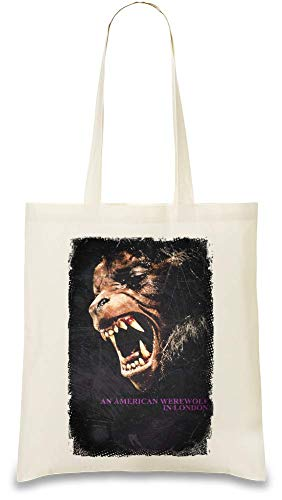 Ein amerikanischer Werwolf in London Poster - An American Werewolf In London Poster Custom Printed Tote Bag| 100% Soft Cotton| Natural Color & Eco-Friendly| Unique, Re-Usable & Stylish Handbag For