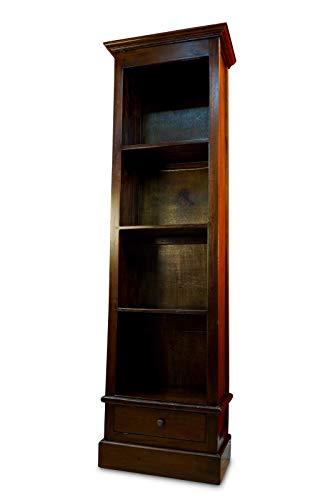 Kinaree Mahagoni Bücherregal Rochester - Regal Massivholz - 180cm Kolonial Stil Regal mit Schublade