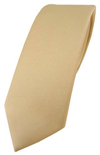 TigerTie schmale Designer Krawatte in hellgold einfarbig Uni - Tie Schlips