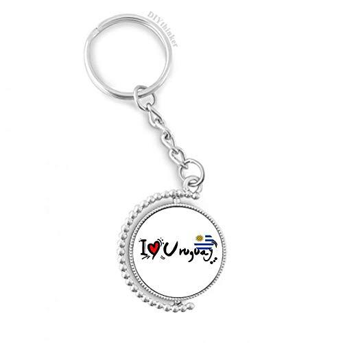 DIYthinker Men I Love Uruguay Word Vlag Liefde Hart Illustratie Draaibare Sleutelhanger Ring Sleutelhouder 1,2 inch x 3,5 inch Multi kleuren
