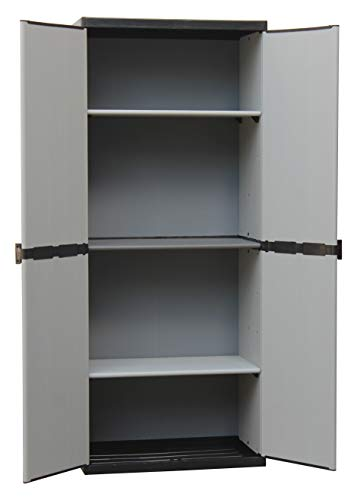 Adventa - Armario de resina con estantes de 2 puertas (interior/exterior), gris negro, 68 x 39,5 x 168 cm