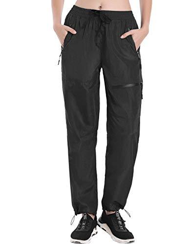 COOrun Cargo Hiking Pants for Women Elastic Waist Trekking Active Outdoor Pants,Black Large
