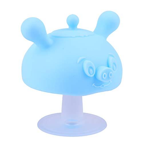 TOYANDONA Juguete mordedor de silicona con forma de seta para bebé, juguete para morder para bebés, juguete calmante para niños pequeños, color azul