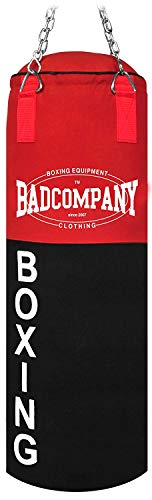 Bad Company Boxsack Deluxe inkl. Heavy Duty Stahlkette I Canvas Punching Bag, gefüllt I 100 x 30 cm - Schwarz/Rot