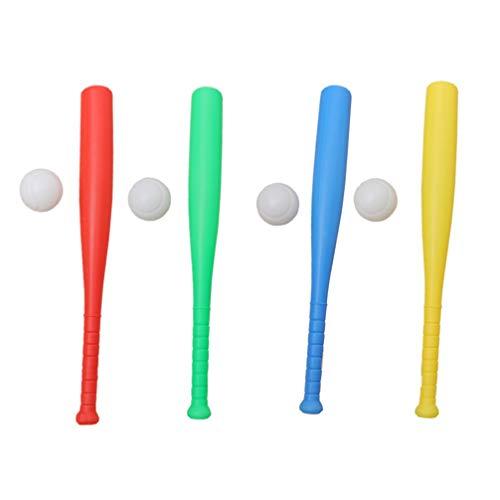 TOYANDONA Juguete de Béisbol para Niños 8 Piezas Juego de Pelota de Bate de Plástico Base de Béisbol Juego Interactivo de Juego de Béisbol para Niños Regalo de Cumpleaños Al Aire Libre