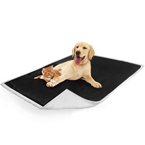 PetAmi Waterproof Dog Blanket for Couch, Sofa | Waterproof Sherpa Pet Blanket for Large Dogs, Puppies | Super Soft Washable Microfiber Fleece | Reversible Design | 50 x 40 (Black)
