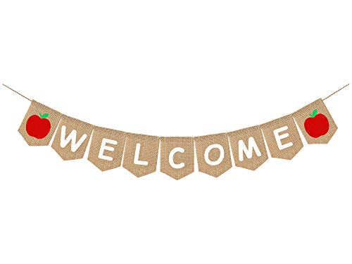 Whaline Welcome Burlap Banner, Back to School Teacher, 2020 First Day of School Banner, Apple Banner, Party Backdrop, No DIY Required, Hanging Decoration Supplies for Classroom,Office, Home