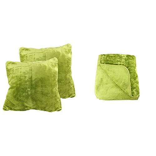 Amago 40024-80-8020 Wohn- & Kuscheldecke, Cashmere-Feeling, Microfaser, Limone, 180x220 cm + Amago Kissenbezug 2er-Set, Cashmere-Feeling, 50 x 50 cm, Limone