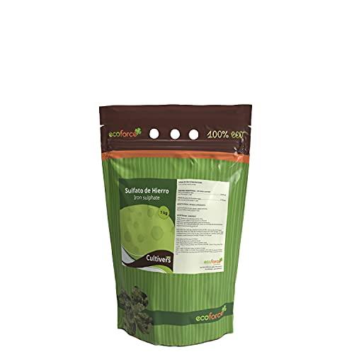 CULTIVERS Sulfato de Hierro Heptahidratado de 1 Kg múltiples uso Hogar y Jardín. Abono Natural para Plantas aporte de Hierro y Reduce de pH del suelo. Colorante para Hormigón efecto Rojizo, Oxidado