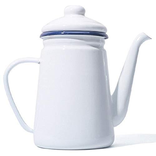 SCOUT 1,1 l Cafetera esmaltada de alta calidad, jarra de agua, jarra de agua para barrita, tetera para hornillo, un gas y una placa de cocción una inducción blanca