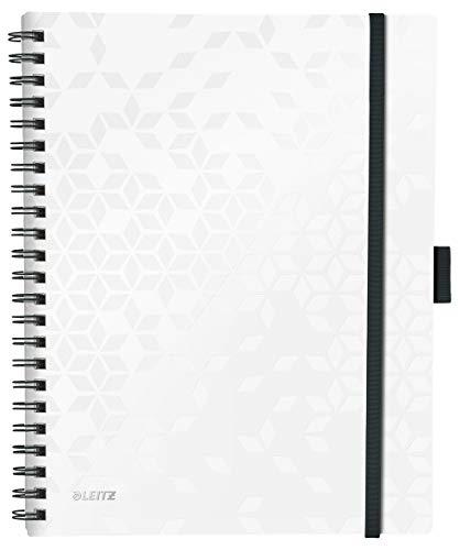 Leitz Be Mobile Notizbuch in A4 Format mit 80 Blatt, Kariert, Elfenbeinfarbiges Papier (80 g/m2), Spiralbindung, Perlweiß, WOW, 46450001