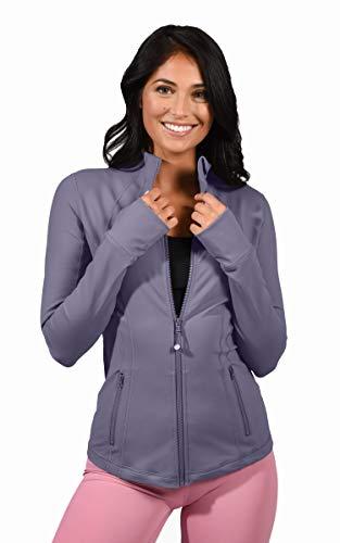 90 Degree By Reflex Women's Lightweight, Full Zip Running Track Jacket - Alpine Iris - Medium