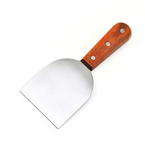 Mingtongli Flexible Beefsteak Turner Edelstahl Spatel mit Holzgriff für Pancake Hibachi, Klein