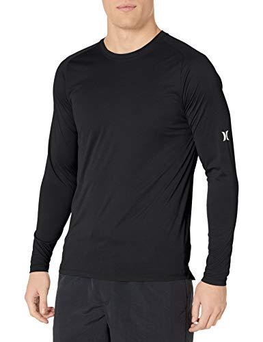 Hurley Men's Nike Dri-Fit Long Sleeve Sun Protection +50 UPF Rashguard, Black, XL
