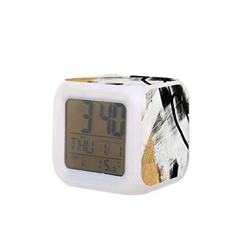 Armadura una pieza abstracta en negro blanco y oro LED reloj despertador digital calendario temperatura colorido noche luz dormitorio reloj escritorio reloj funciona con pilas