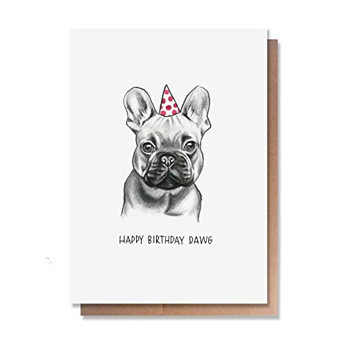 Wunderkid Happy Birthday Dawg, Funny Bulldog Birthday Card (Individual, Blank inside)