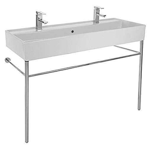 Scarabeo 8031/R-120B-CON-Two Hole Teorema Large Double Ceramic Console Sink and Polished Chrome Stand, White