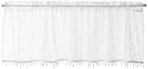 Heritage Lace Starfish Valance with Trim, 45 by 15-Inch, White